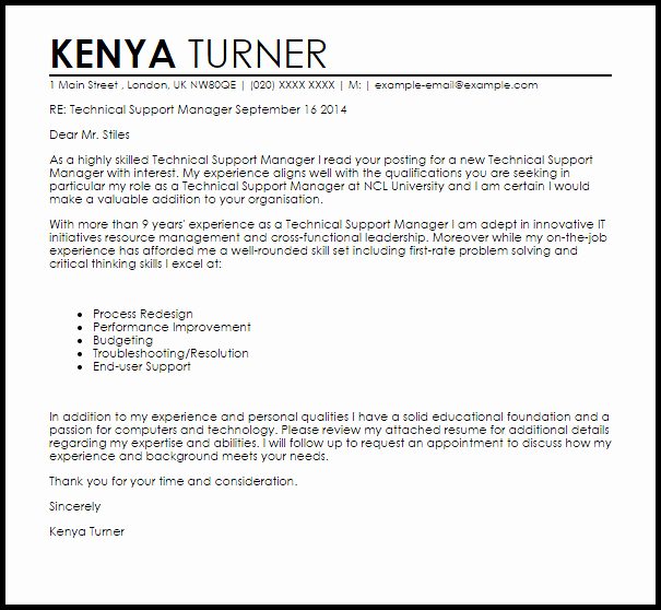Technical Support Manager Cover Letter Sample