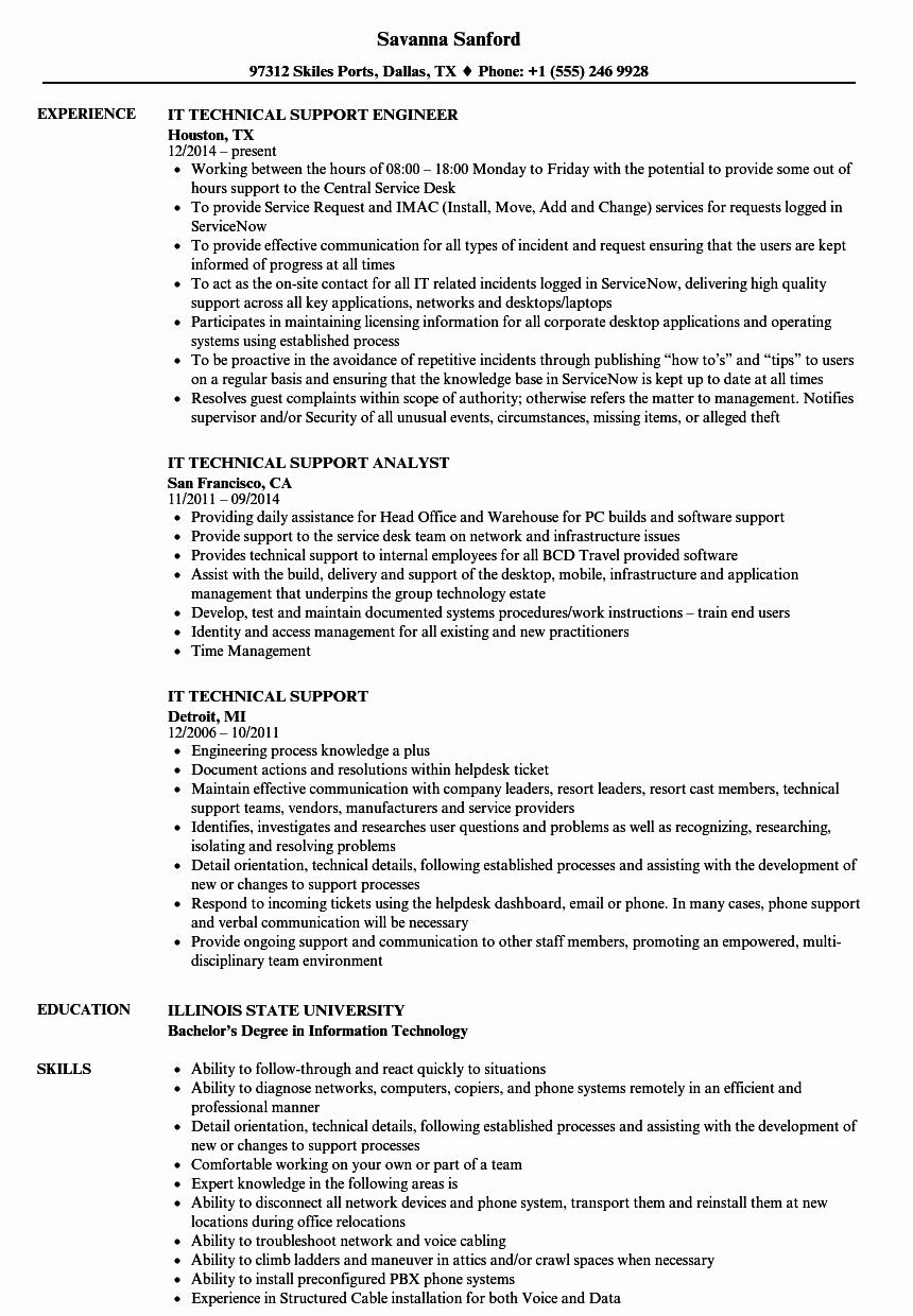 Technical Support Skills Resume Talktomartyb