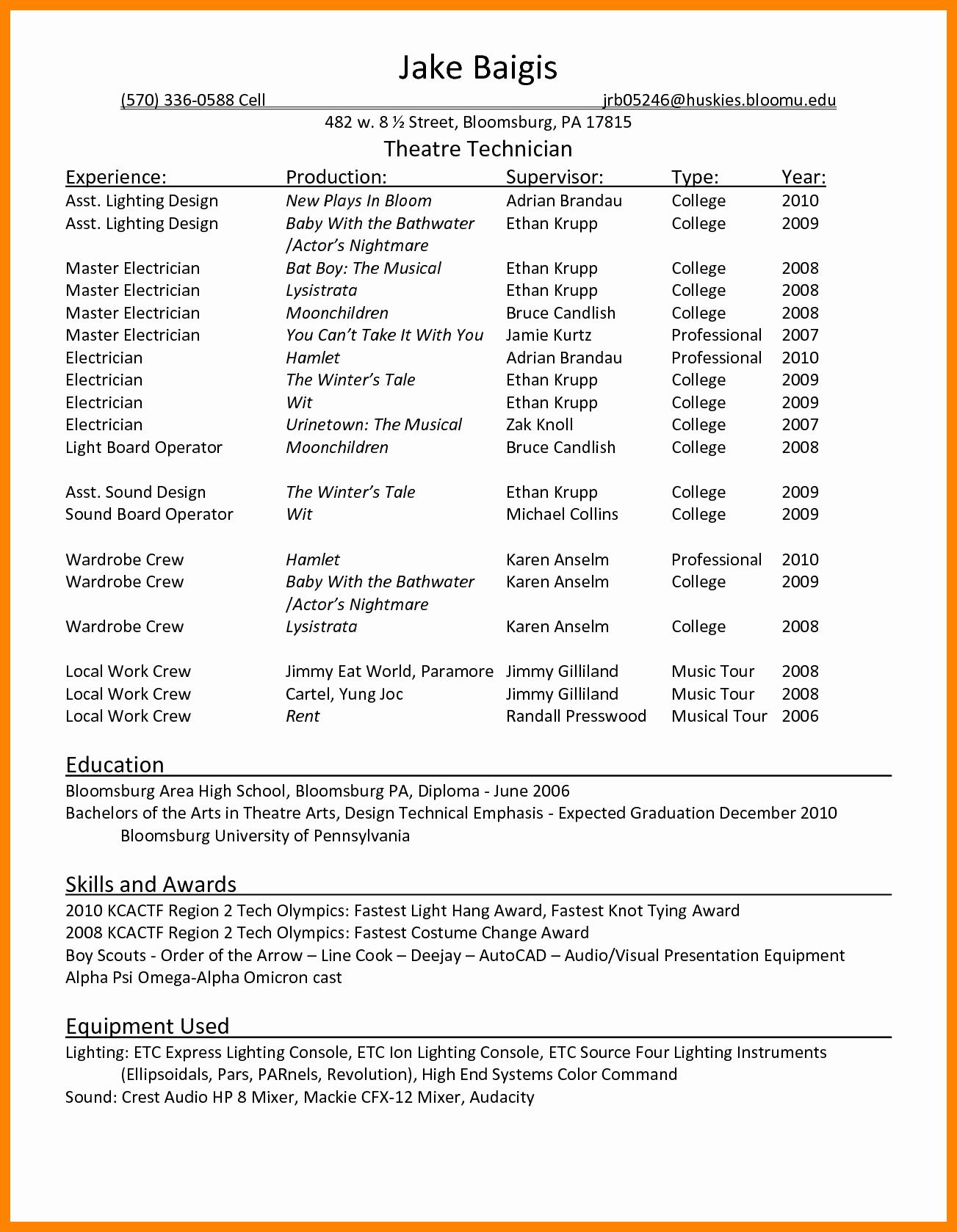 Technical theatre Resume Template Resume Ideas