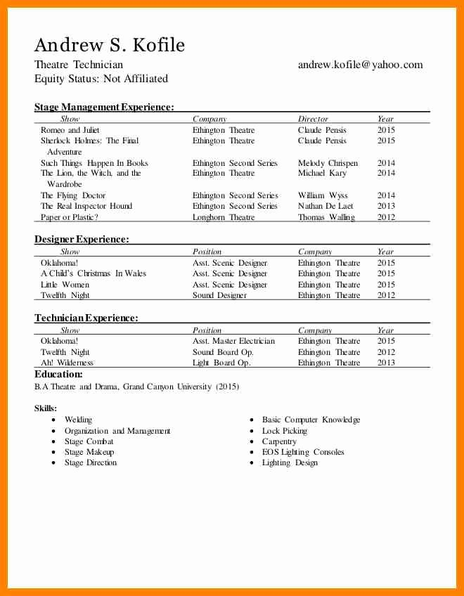 Technical theatre Resumes Technical theatre Resume the