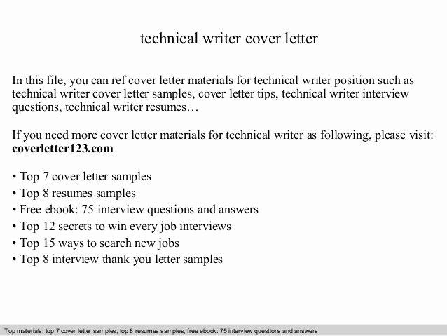 Technical Writer Cover Letter