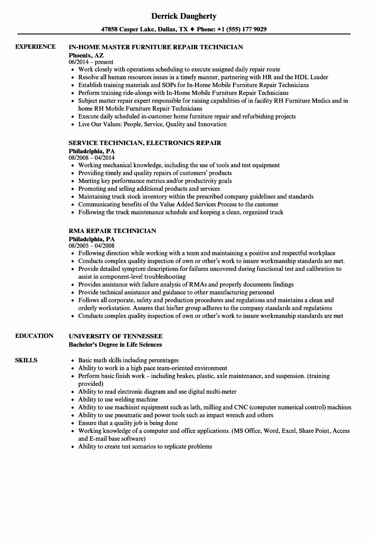 Technician Repair Resume Samples