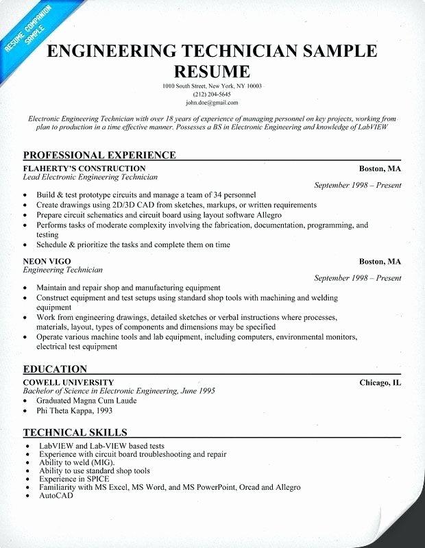 Technician Resume Objective Resume Ideas