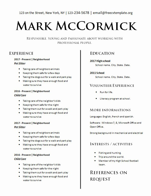 Teens with No Experience – Free Cv Template Dot org