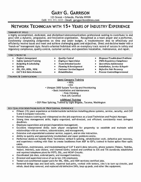 Tele Technician Resume Example