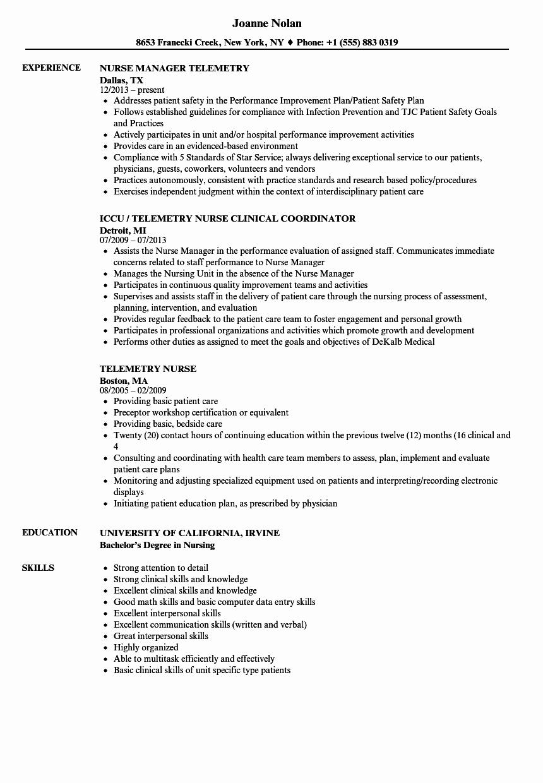 Telemetry Nurse Resume Samples