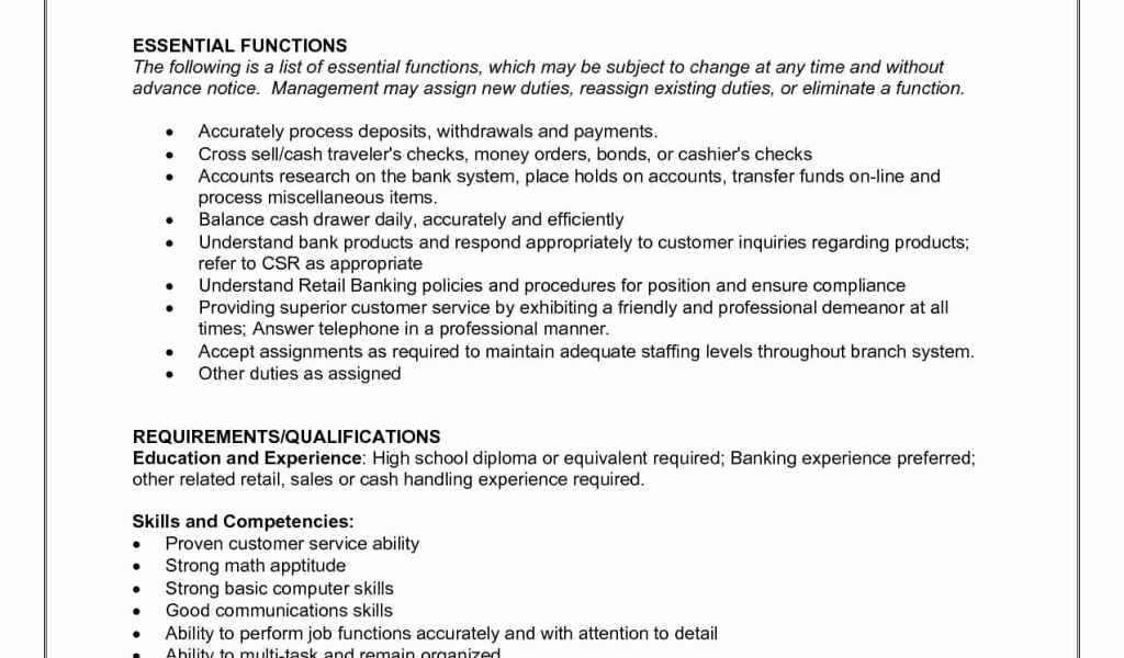 Teller Job Description for Resume