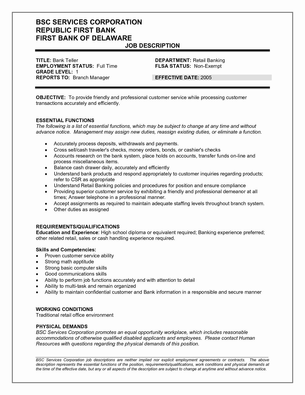 Teller Job Description Resume Bank Teller Job Duties and