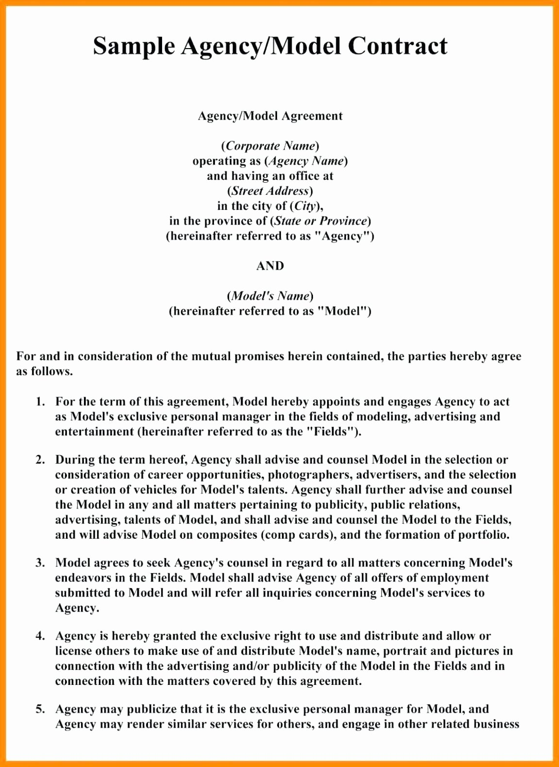 Template Artist Management Agreement Template