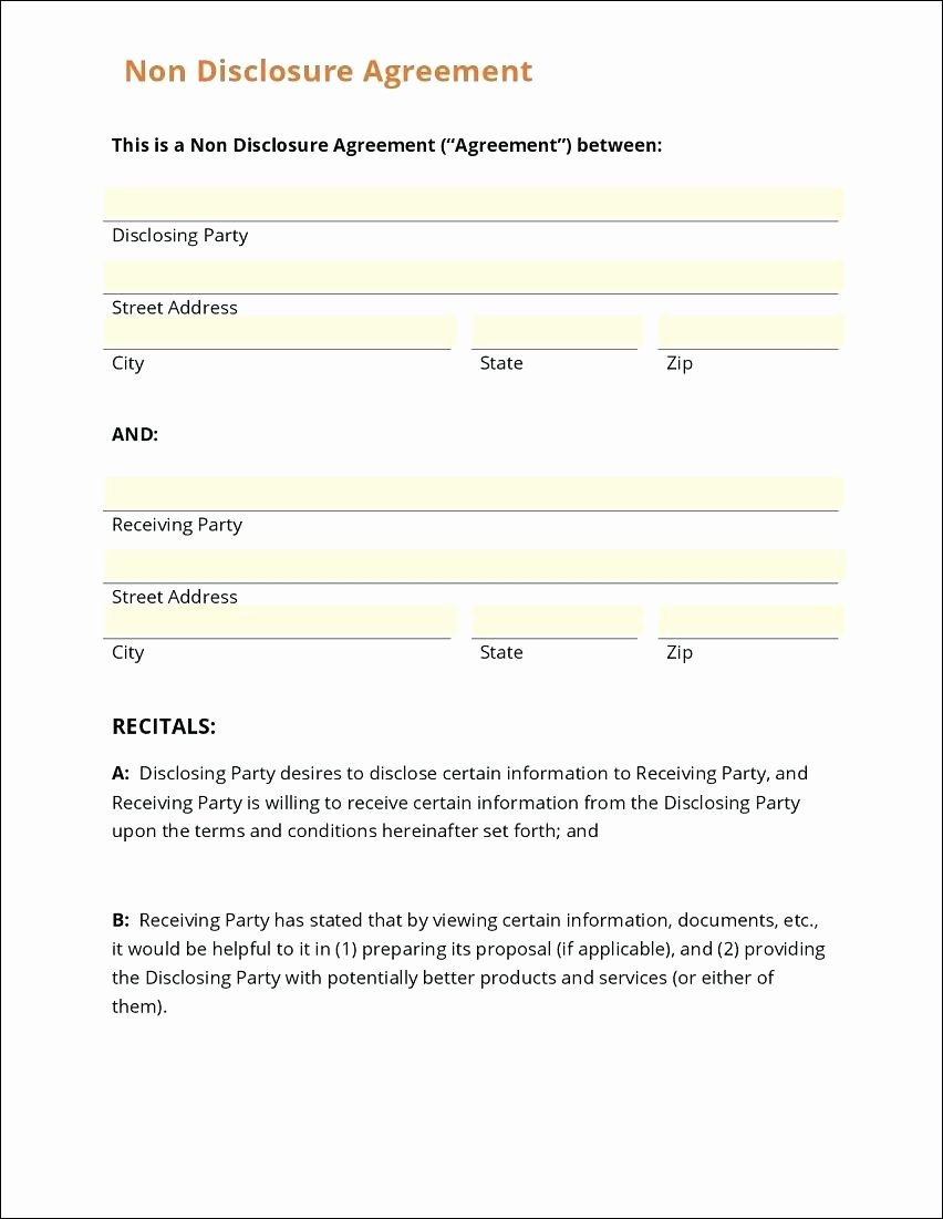Template Basic Non Disclosure Agreement Template