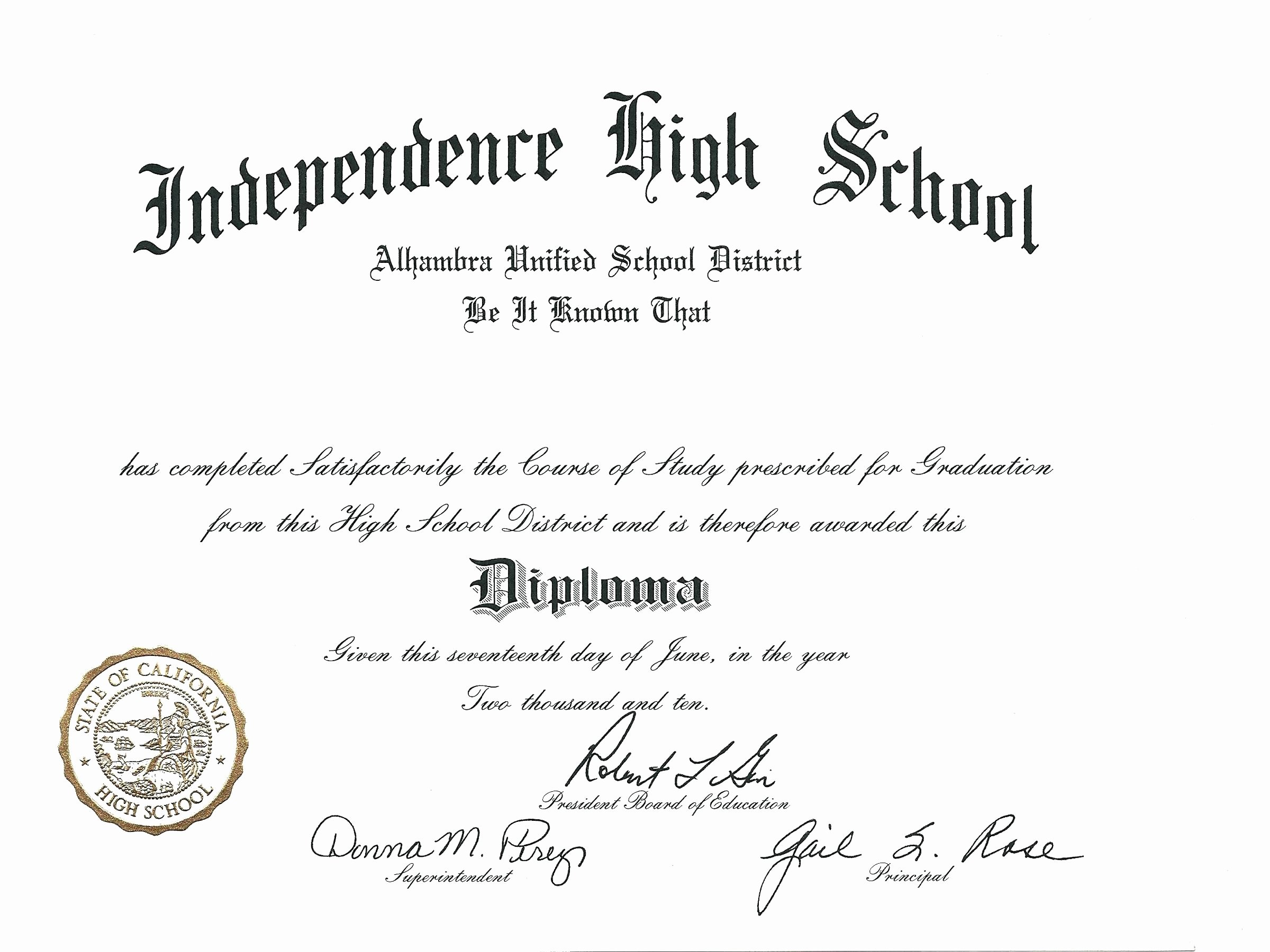 Template Blank High School Diploma Template