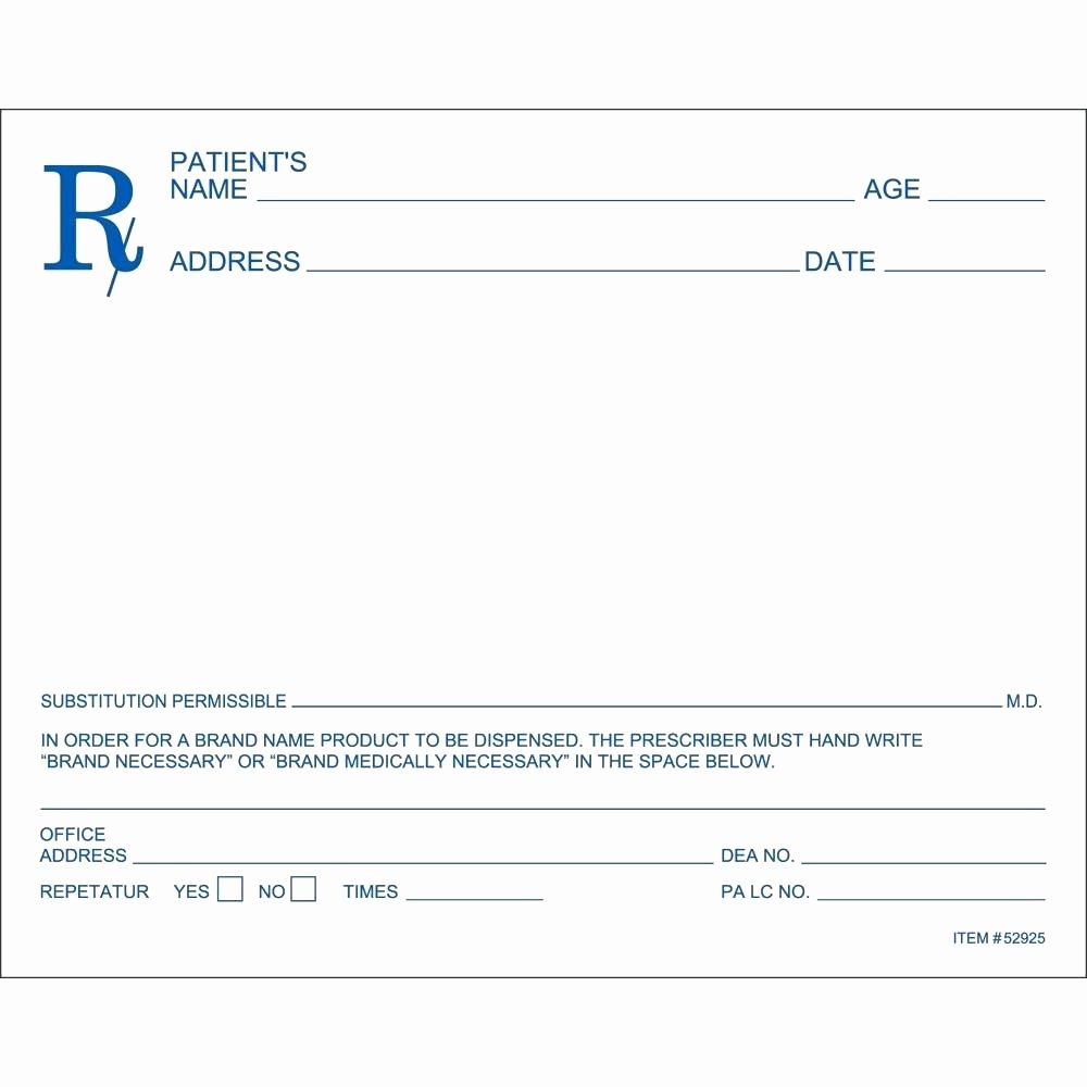 Template Blank Prescription form Template Pharmacy Pad