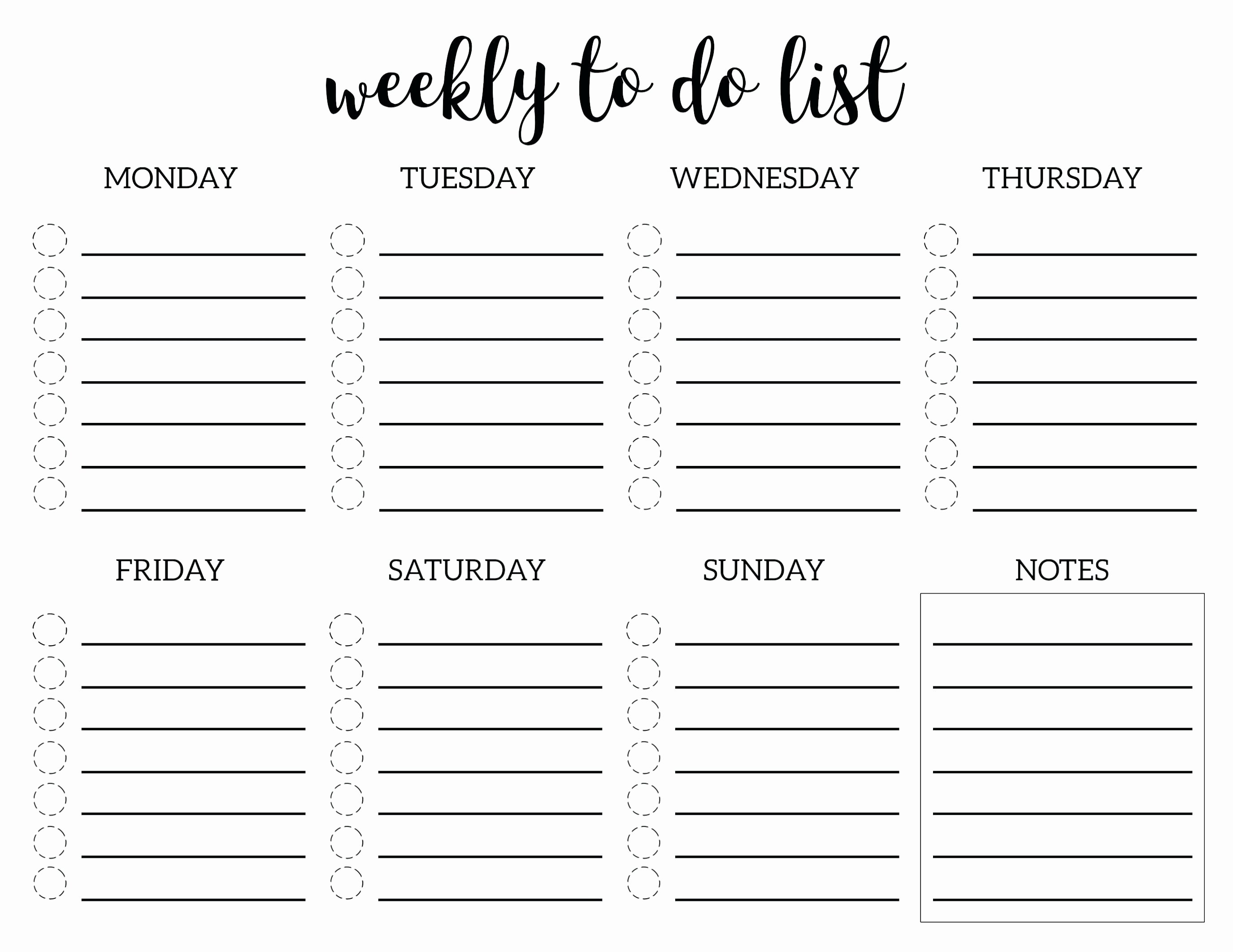 Template Blank Week Template to Do List Checklist Weekly