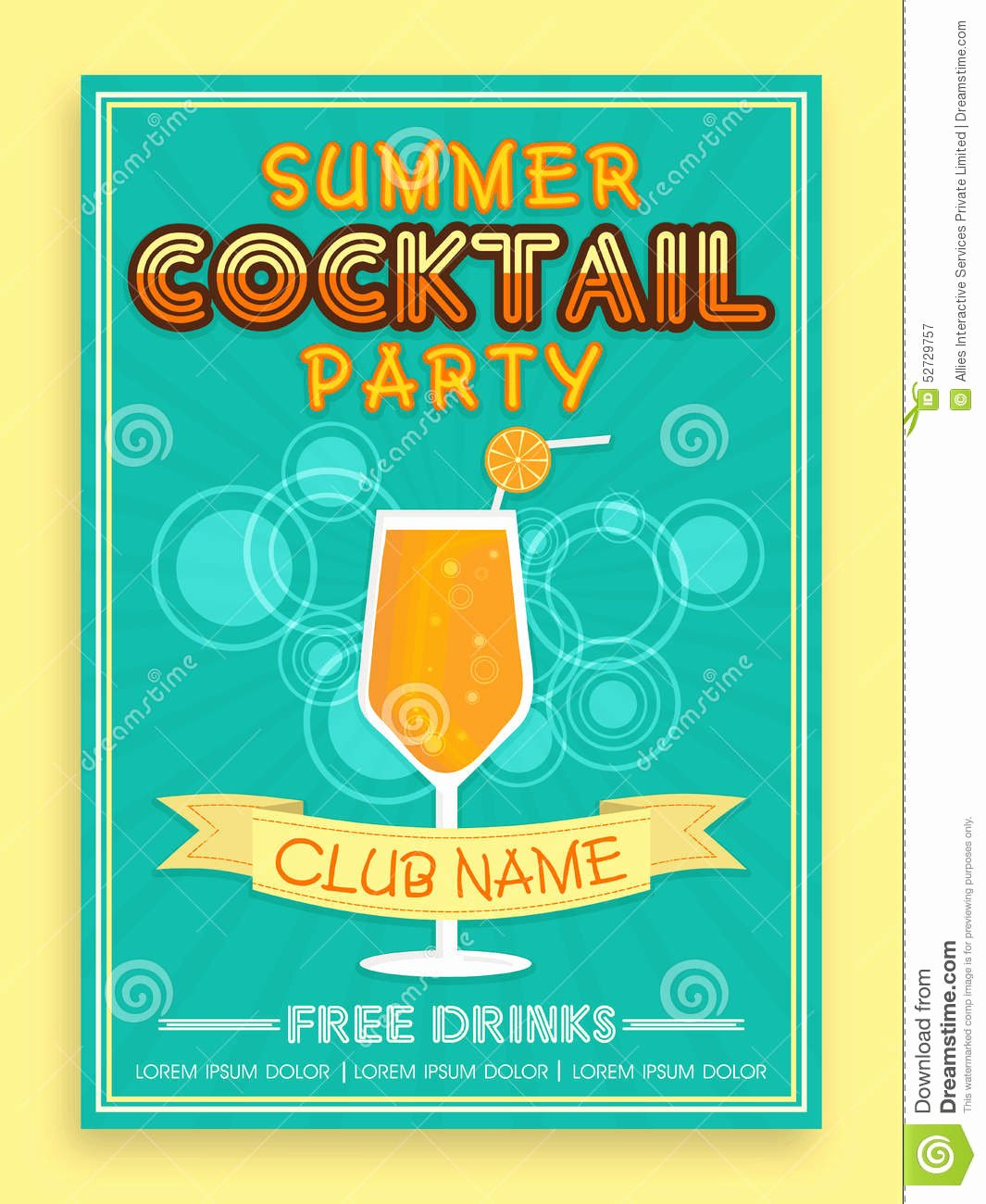 Template Brochure Flyer Design for Cocktail Party