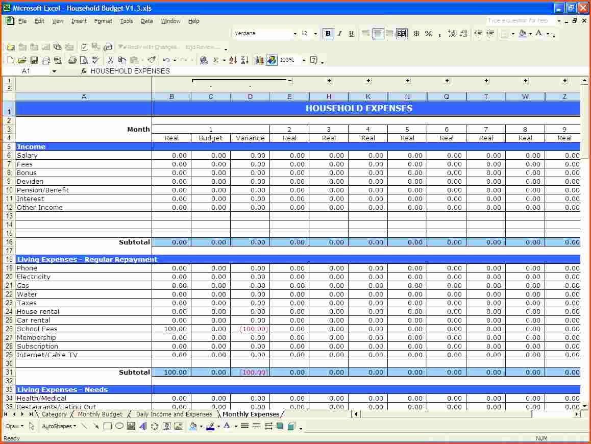 Template Bud Spreadsheet Bud Spreadsheet Spreadsheet