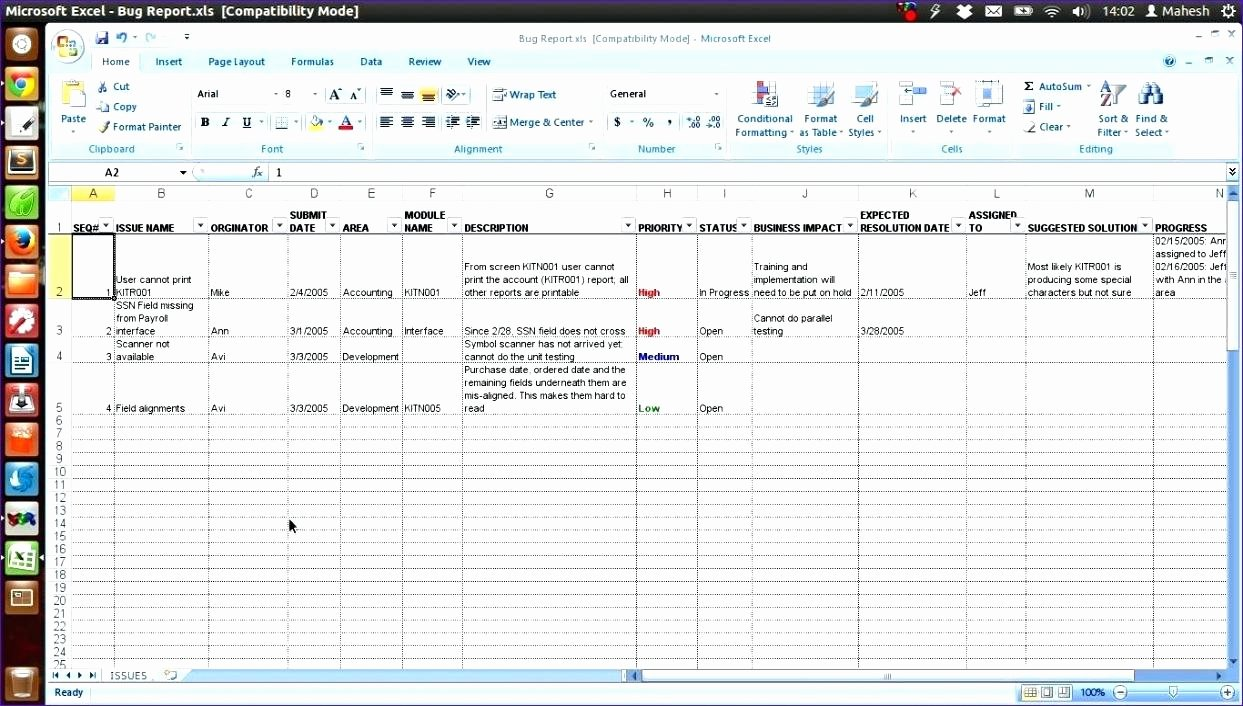Template Bug Tracking Template