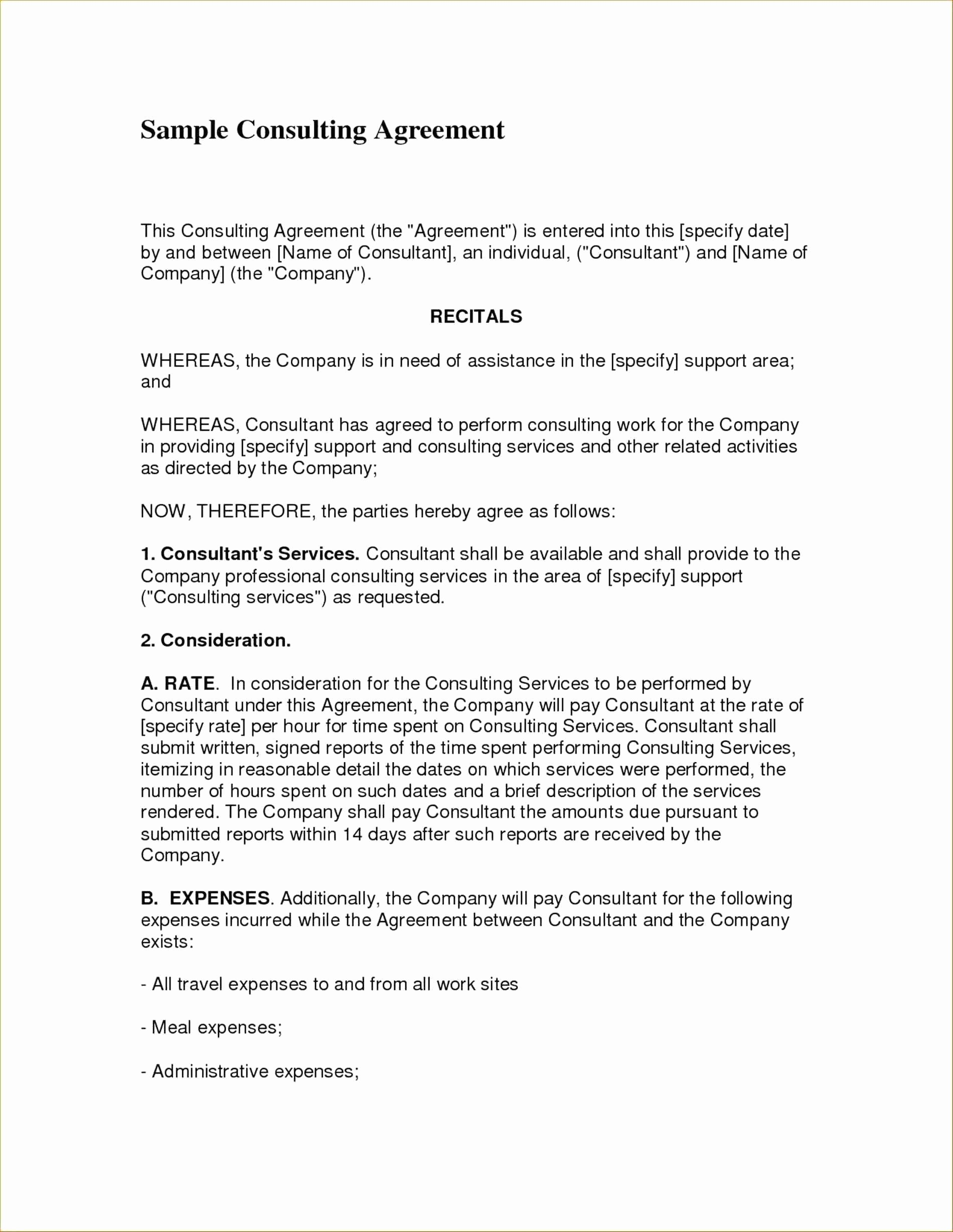 Template Business Consultant Agreement Template