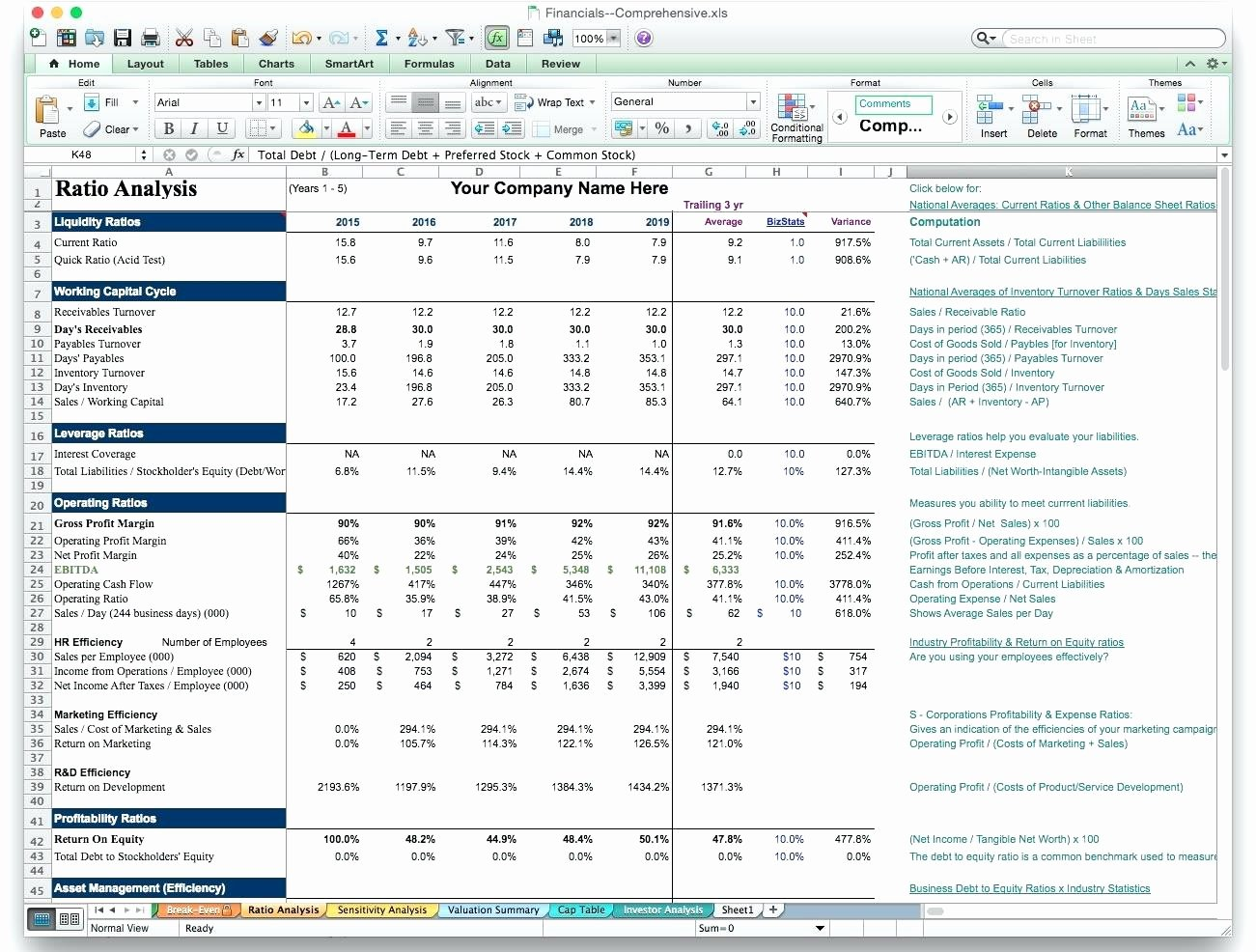 Template Business Plan Financials Template Excel