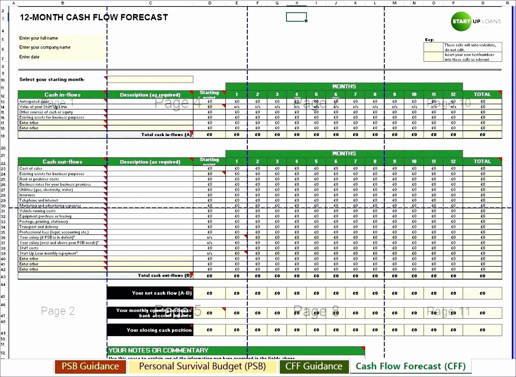 Template Cash Flow Projection Template Excel