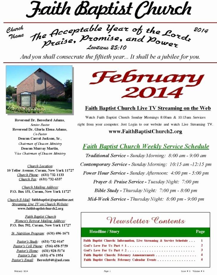 Template Church Newsletter