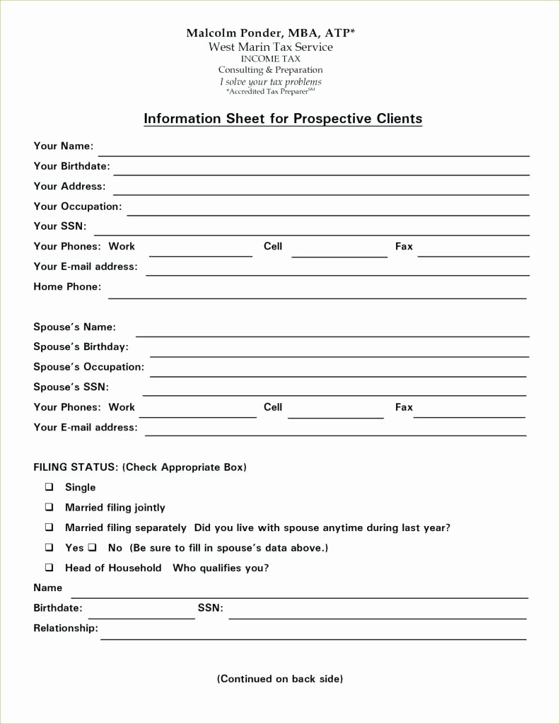 Template Client Information form Template