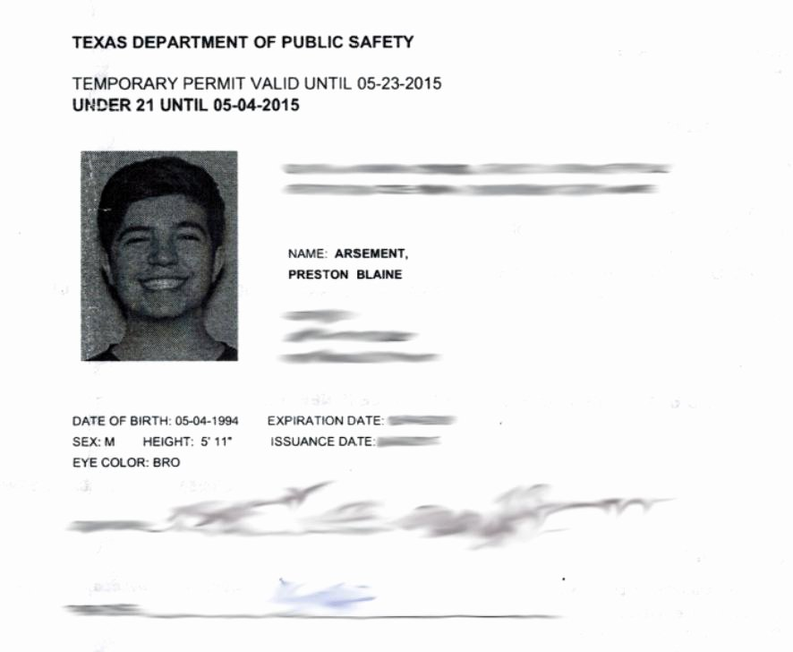 Template Collection Temporary Texas Drivers License