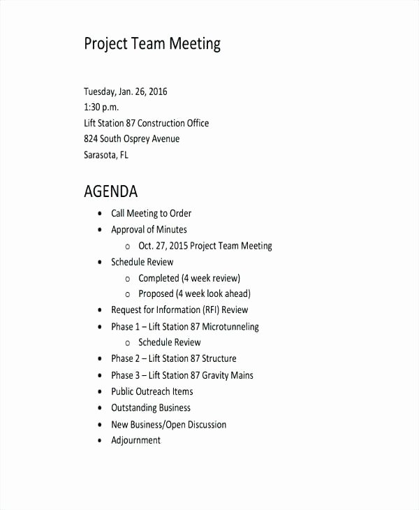 Template Construction Project Kickoff Meeting Agenda