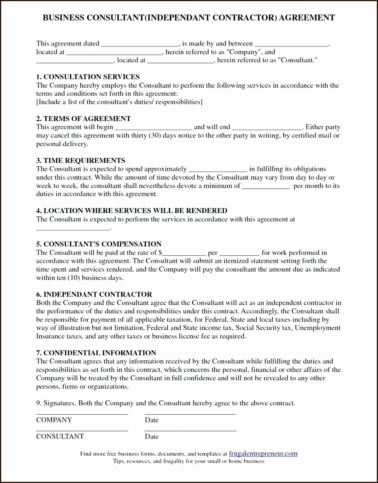 Template Consulting Fee Agreement Template Contract