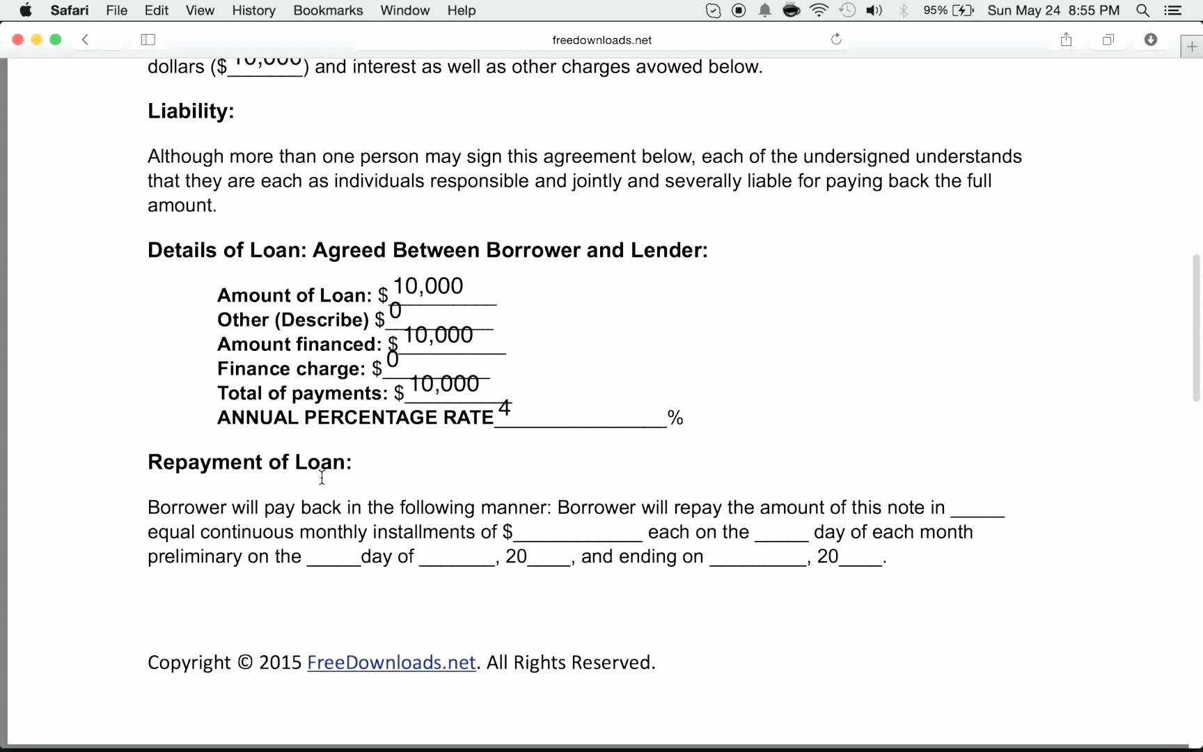 Template Contract for Loaning Money Template