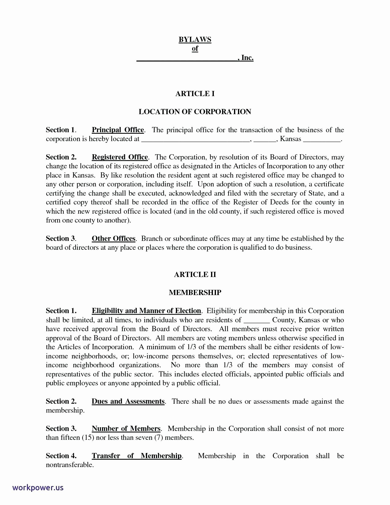 Template Corporate bylaws Template