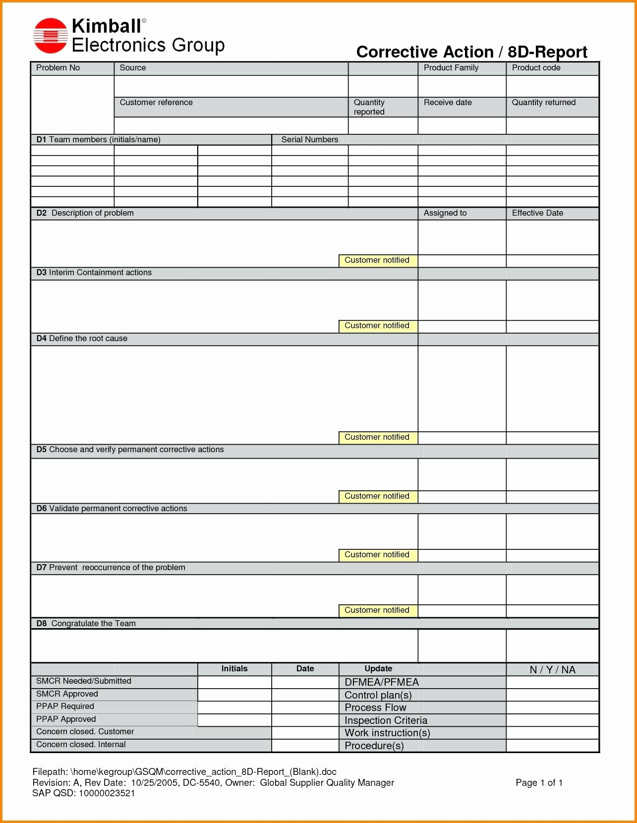 Template Corrective Action Request form Template