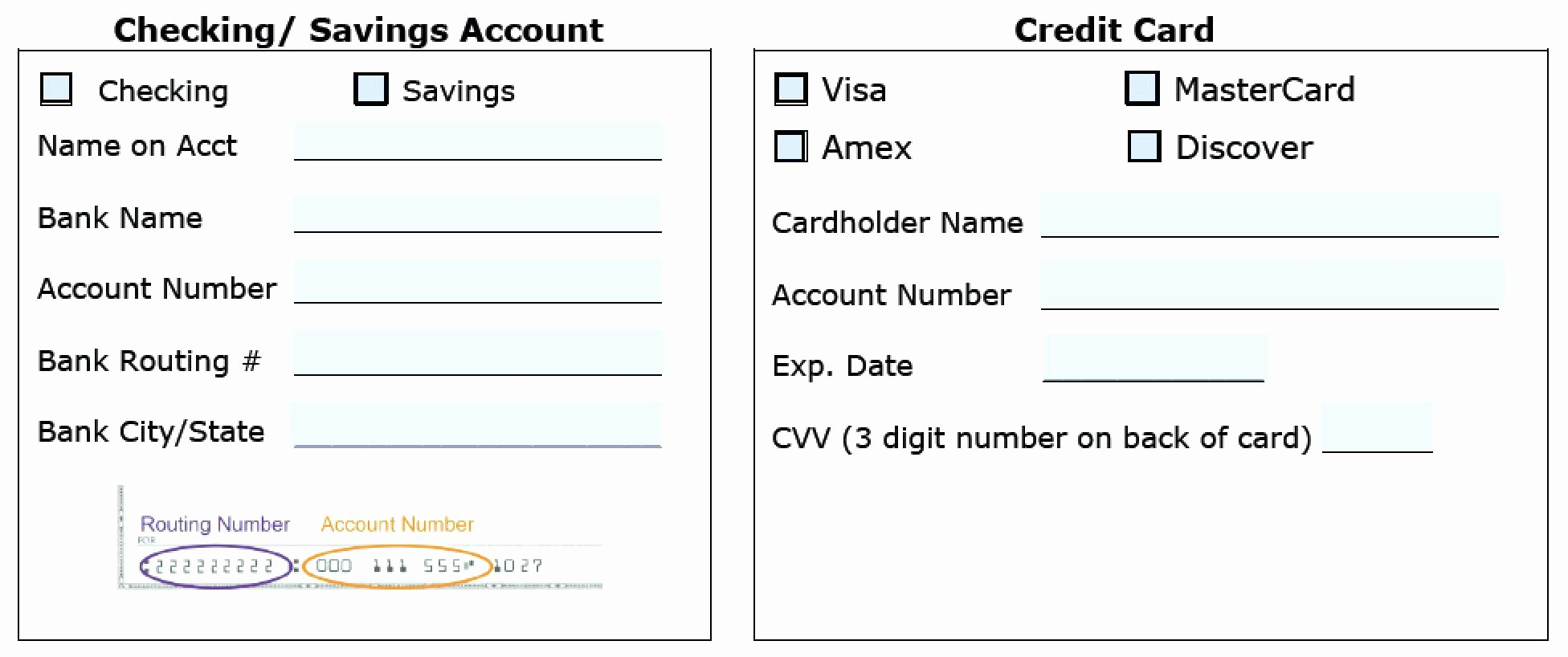 Template Credit Card Processing form Template