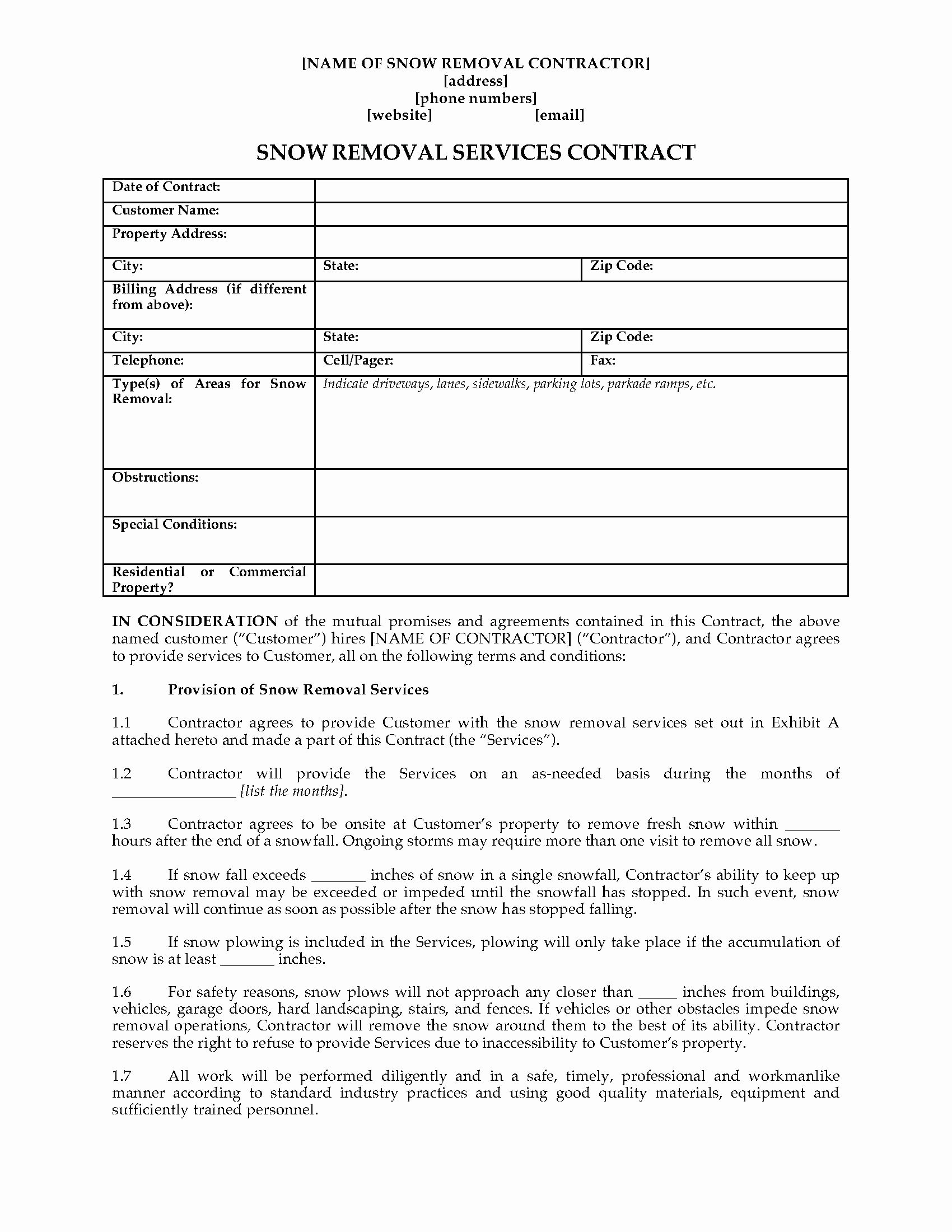 Template Customer Service Agreement Template