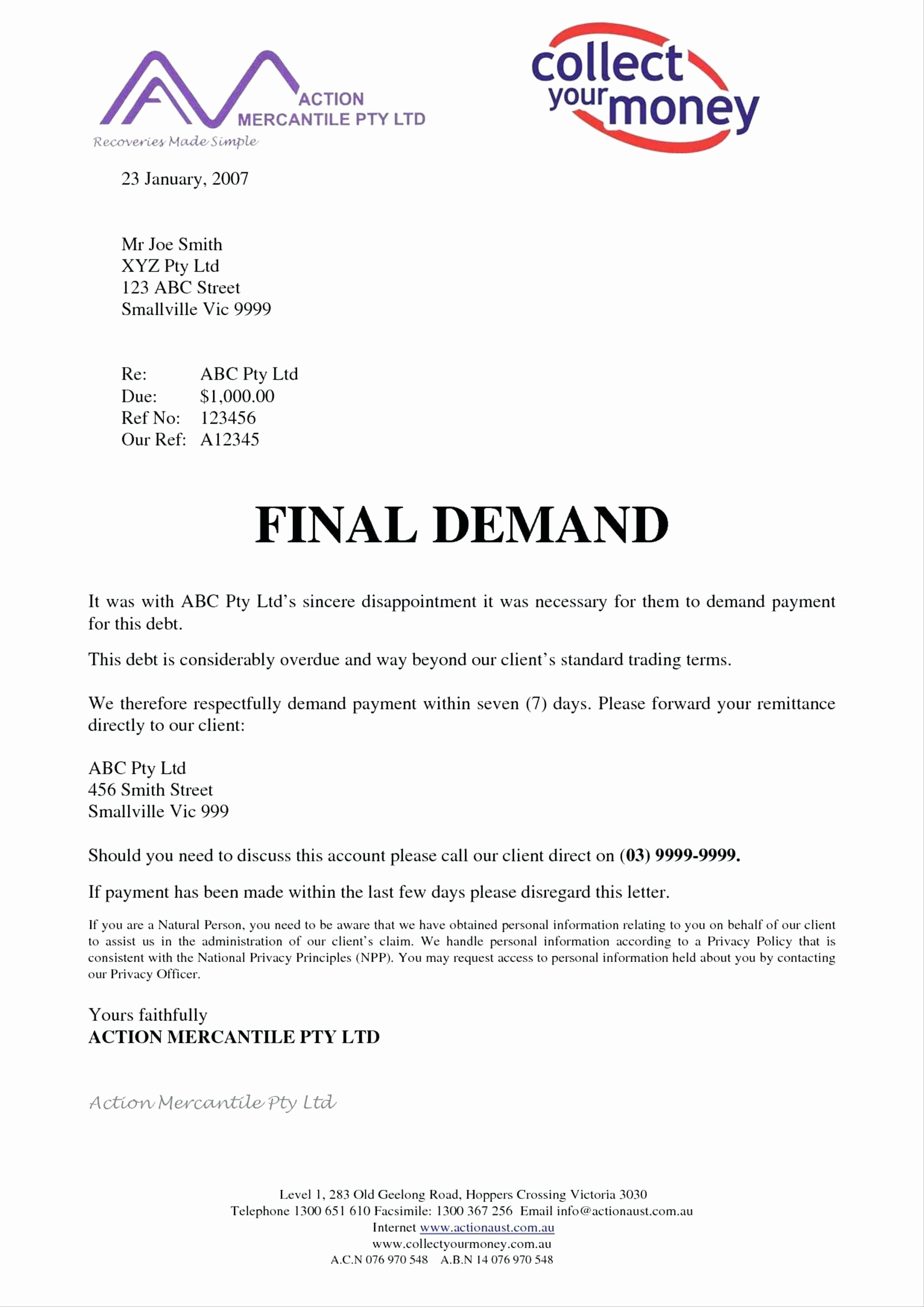 Template Demand Payment Letter Template