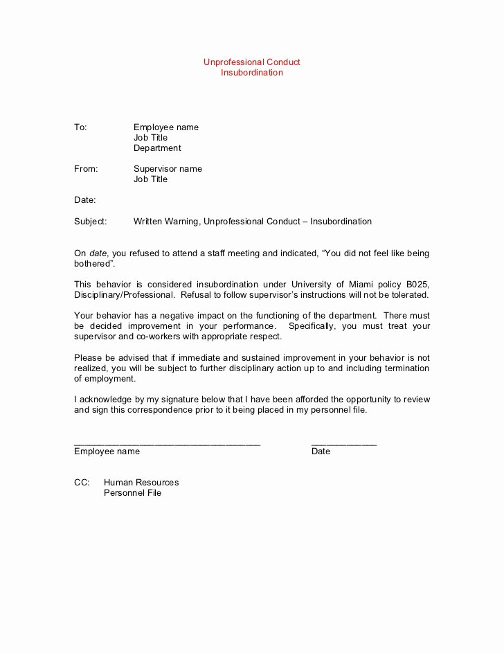 Template Disciplinary Letter Amples Gables