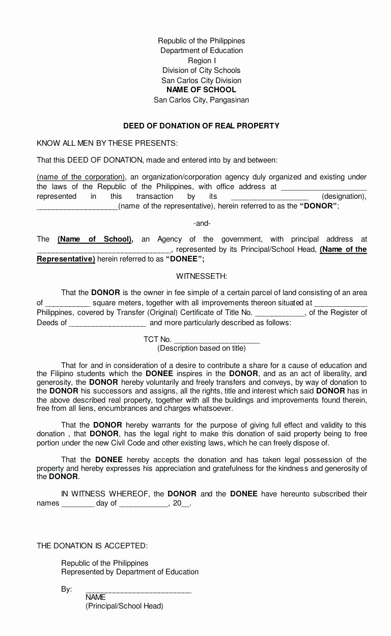 Template Donation Agreement Template