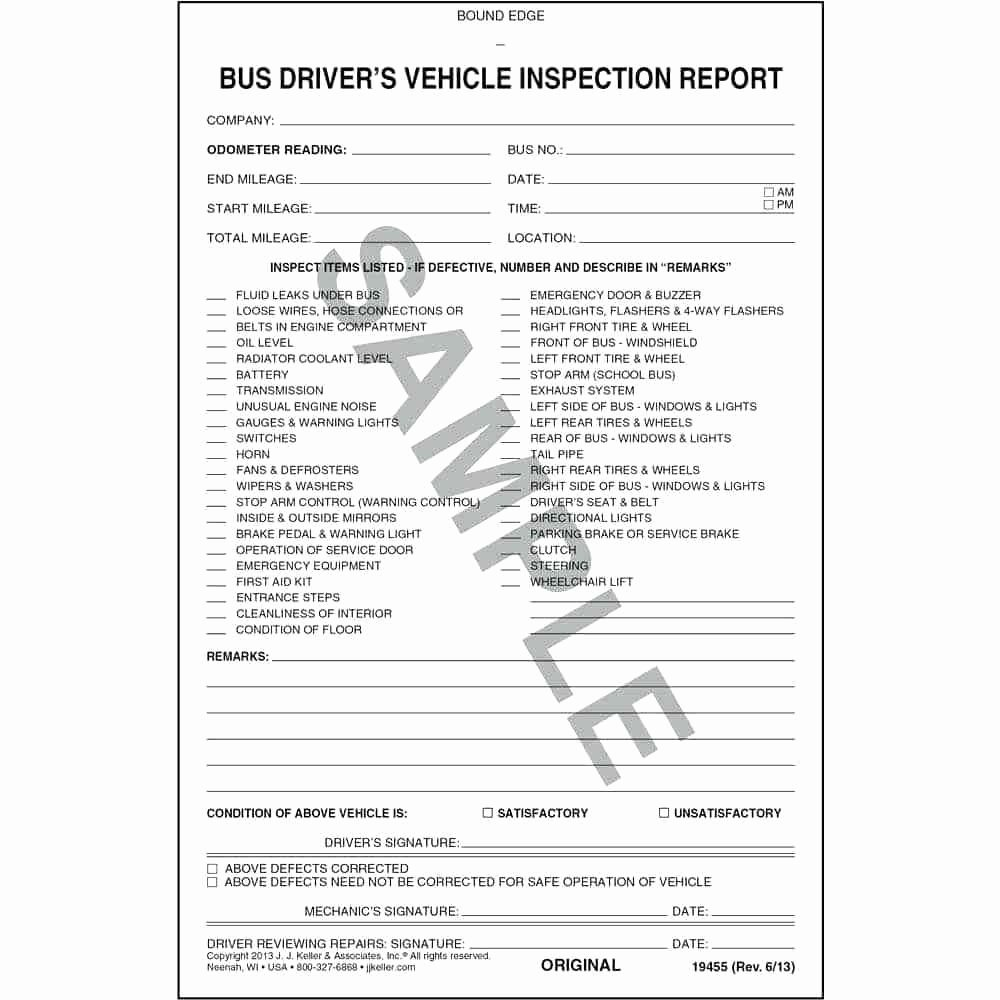 Template Driver Vehicle Inspection Report Template Free