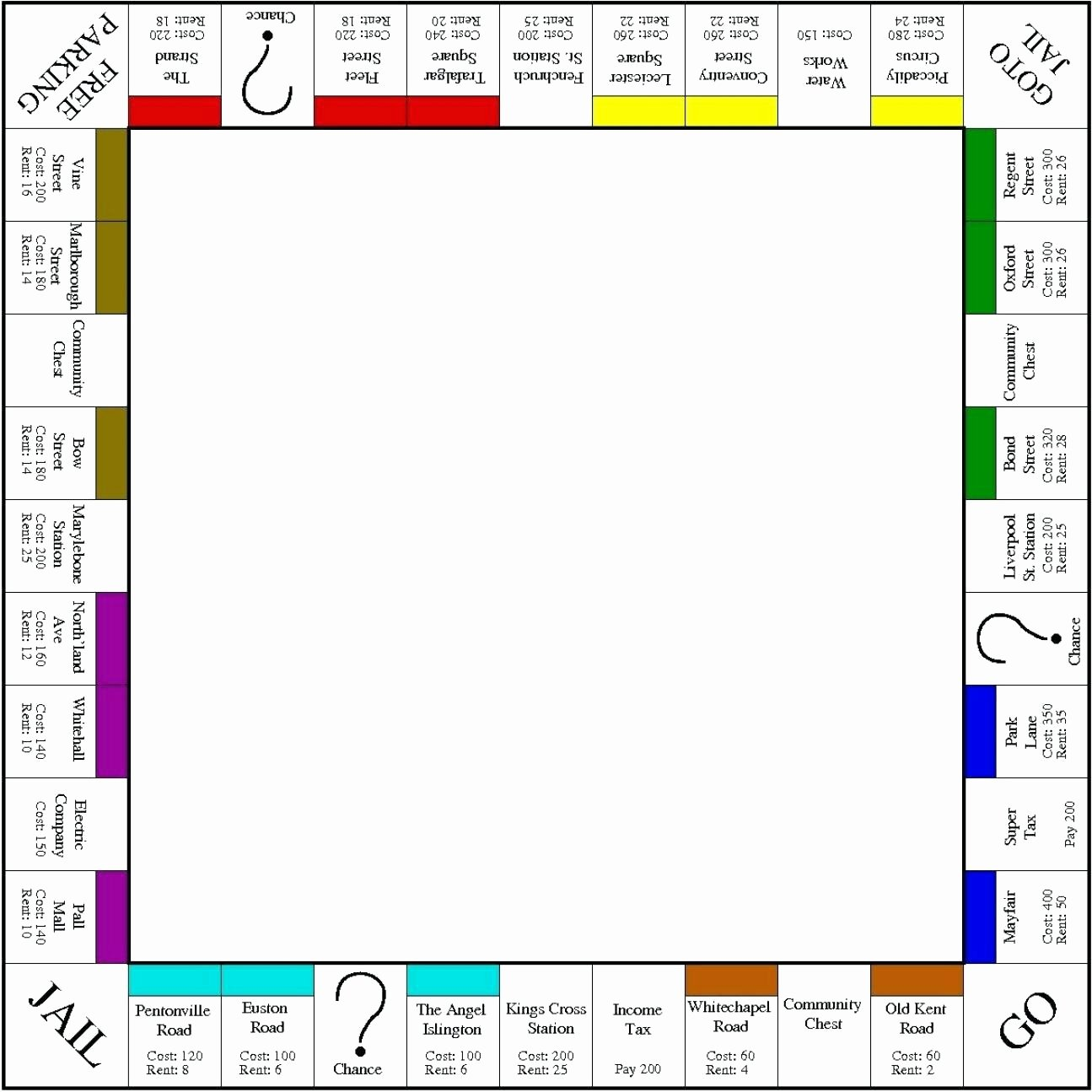 Template Editable Game Board Template