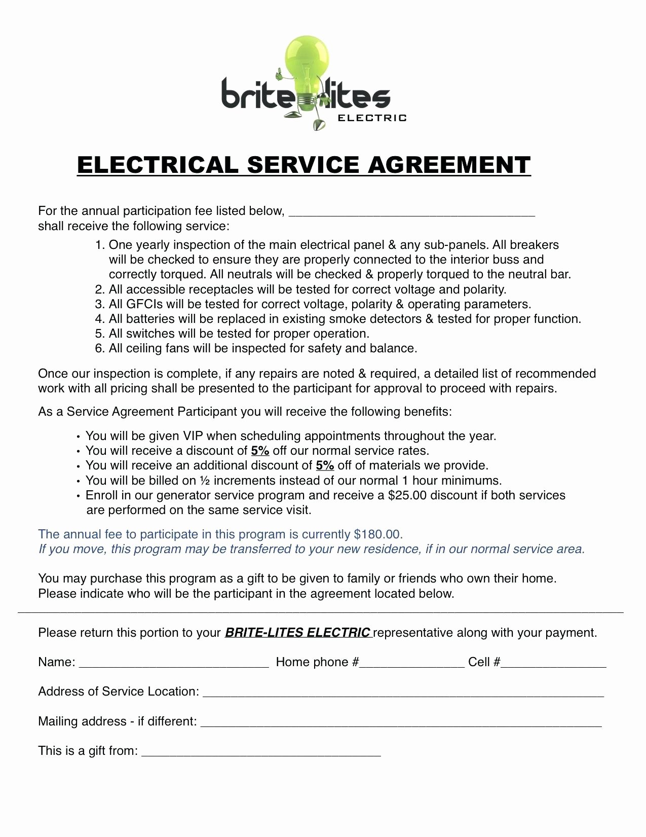 Template Electrical Service Contract Template