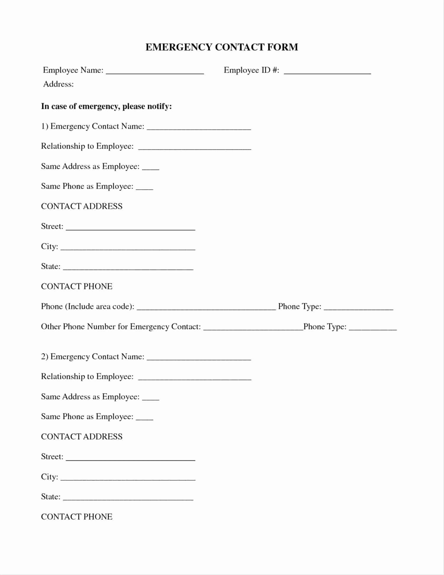 Template Employee Emergency Contact form Template