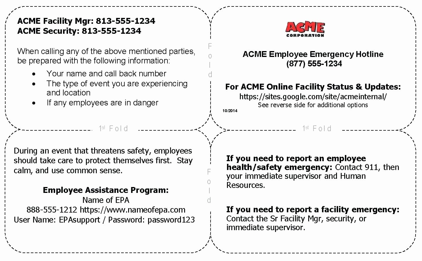 Template Employee Emergency Contact Template