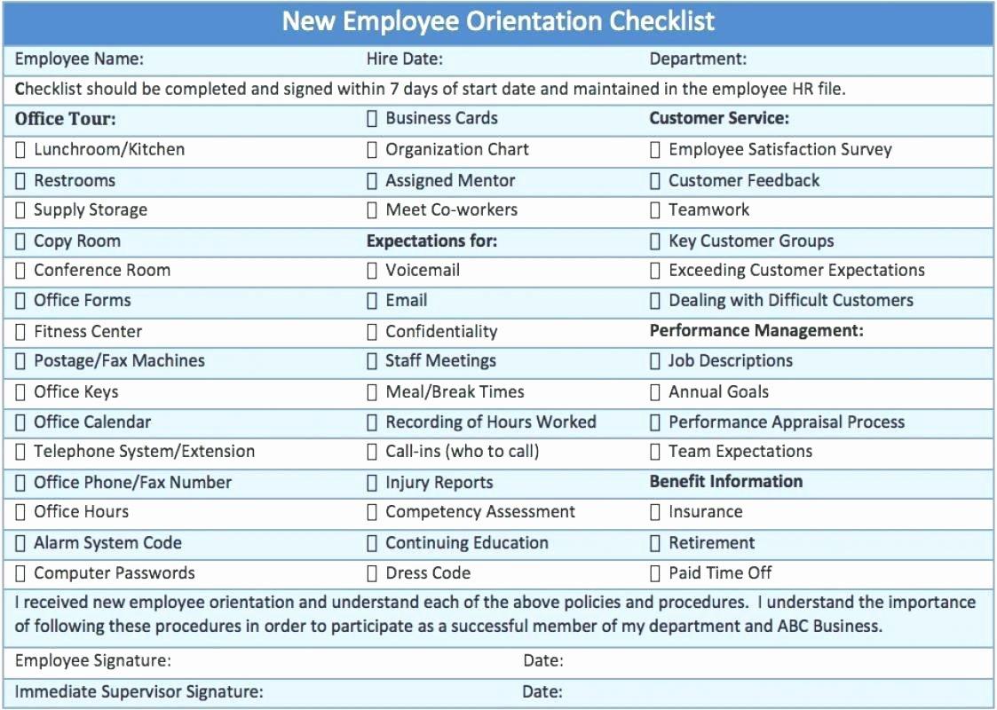 Template Employee orientation Checklist Template