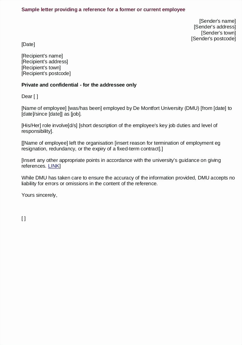 Template Employment Reference Letter Template
