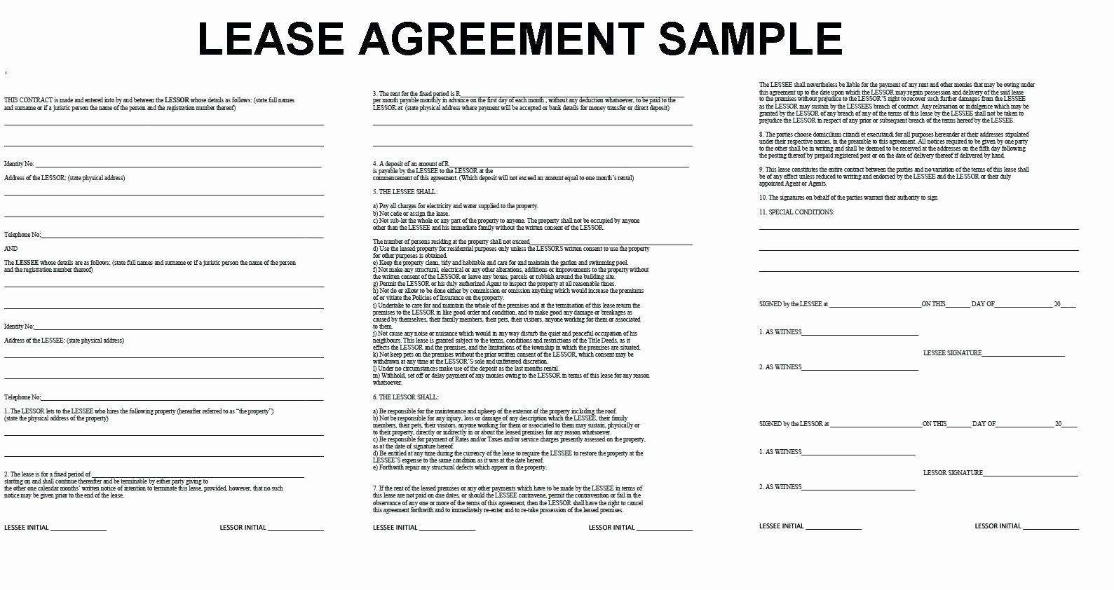 Template Equipment Lease Agreement Template