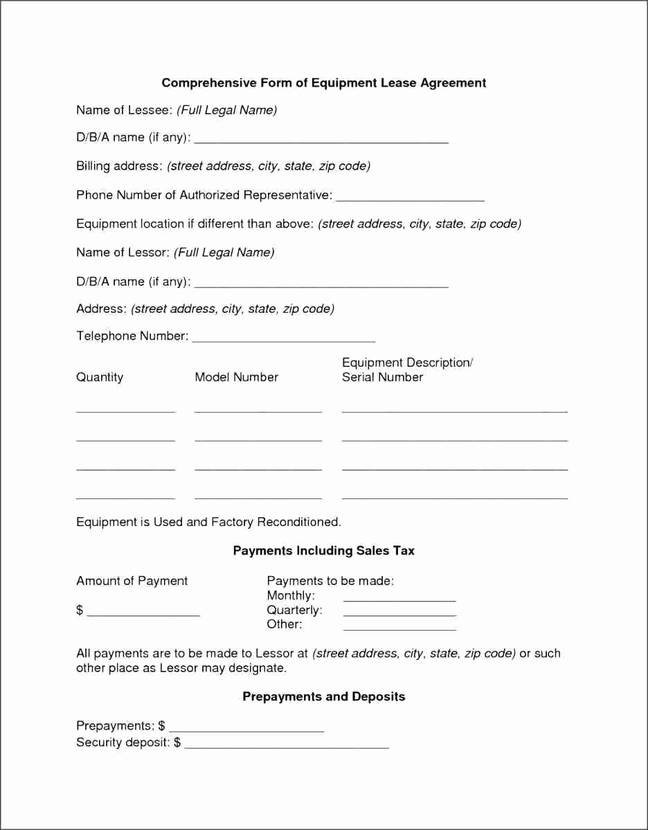 Template Equipment Purchase Agreement Template