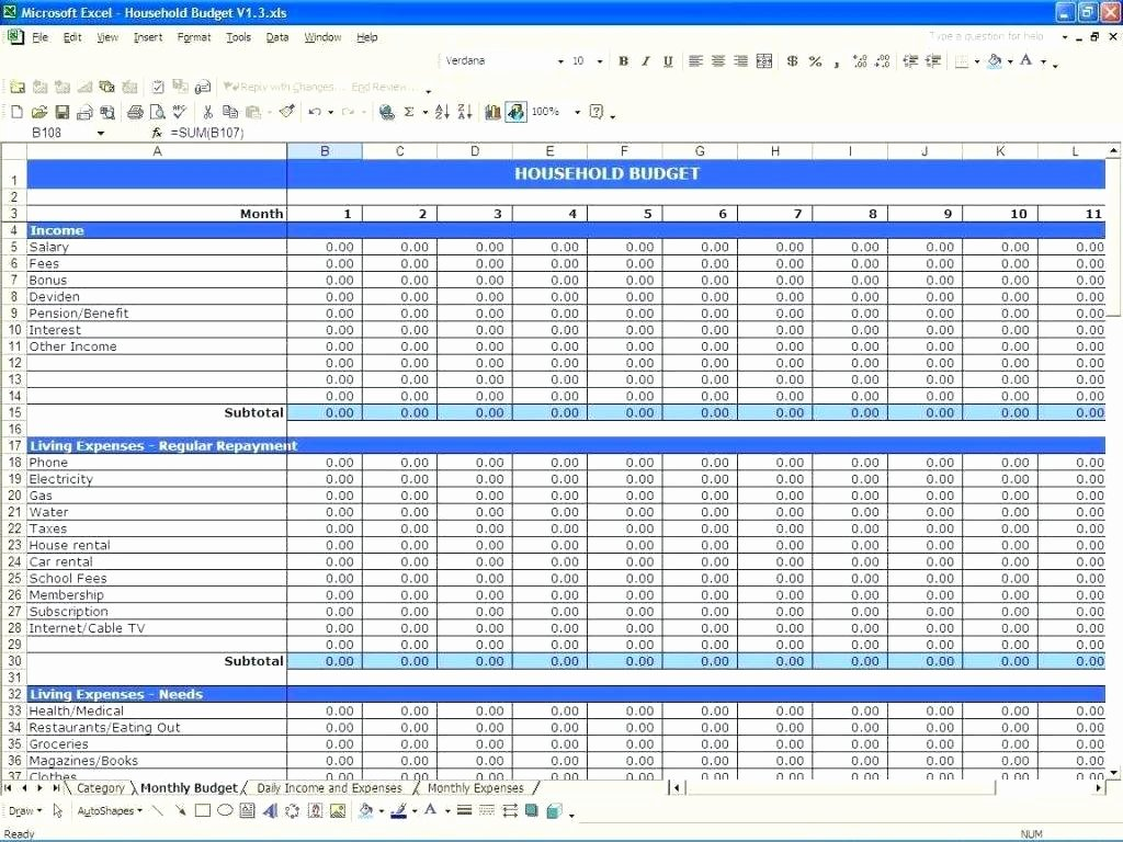 Template Expenses Spreadsheet Template Excel