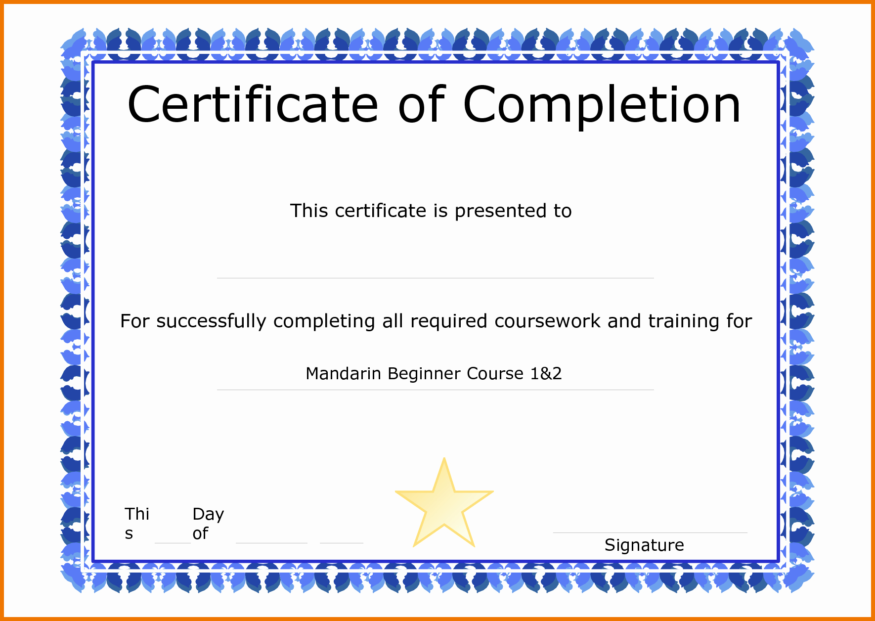 Template for Certificate Pletion