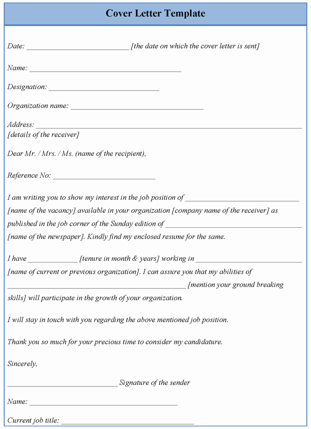 Template for Cover Letter Examples Of Cover Letter