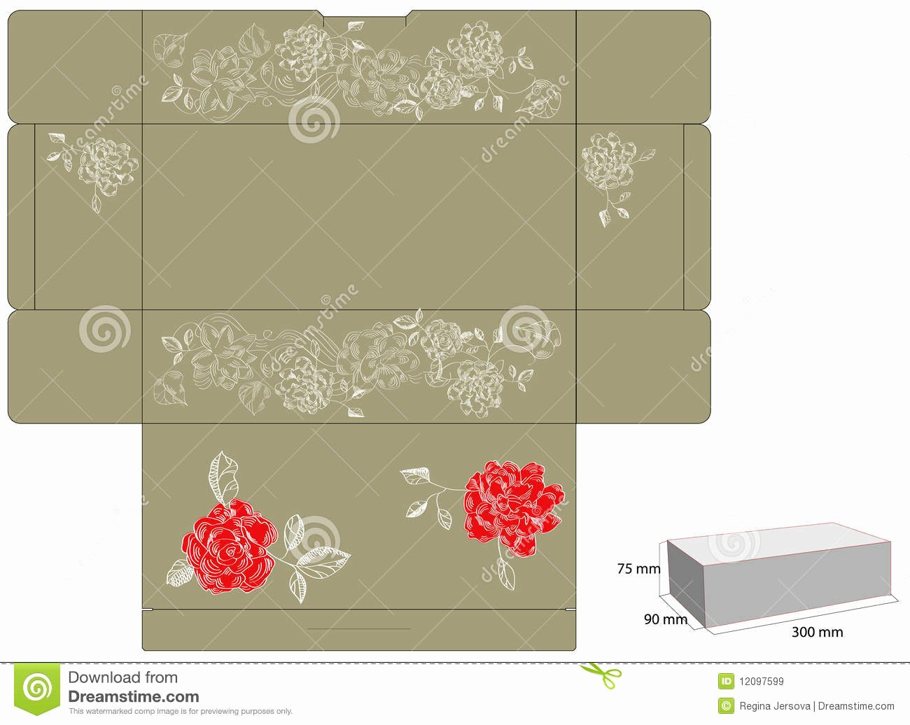 Template for Gift Box with Die Cut Stock Vector Image