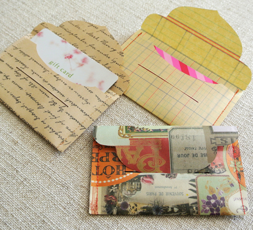 Template for Laminate and Sew Gift Card Envelopes From